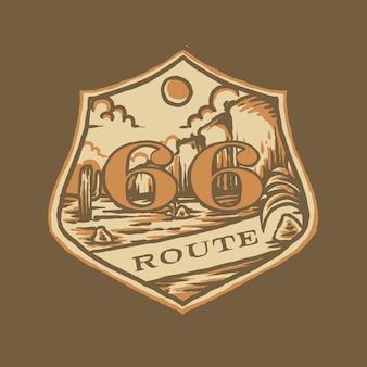Ilustração do emblema da rota 66 vintage