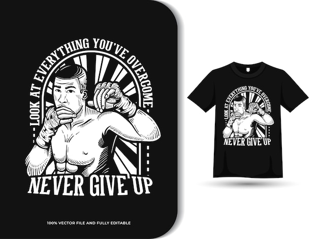 Ilustração do emblema das artes marciais lutador citações motivacionais e modelo de design de camiseta