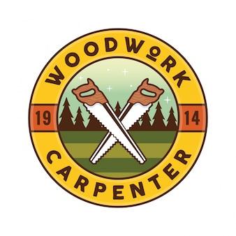 Ilustração do emblema do logotipo da carpintaria do woodwork vintage