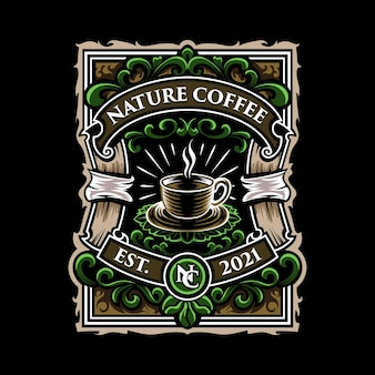 Ilustração do emblema do logotipo da natureza café