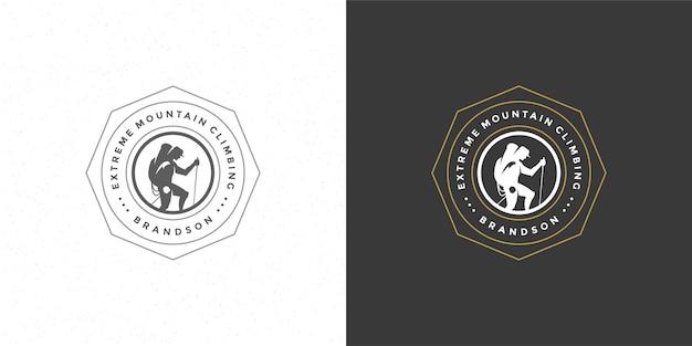 Ilustração do emblema do logotipo do alpinista aventura ao ar livre