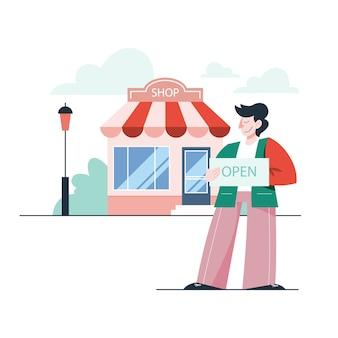 Ilustração do empresário abrindo uma loja. conceito de ser dono de loja, tornar-se dono, varejo e imóvel comercial.