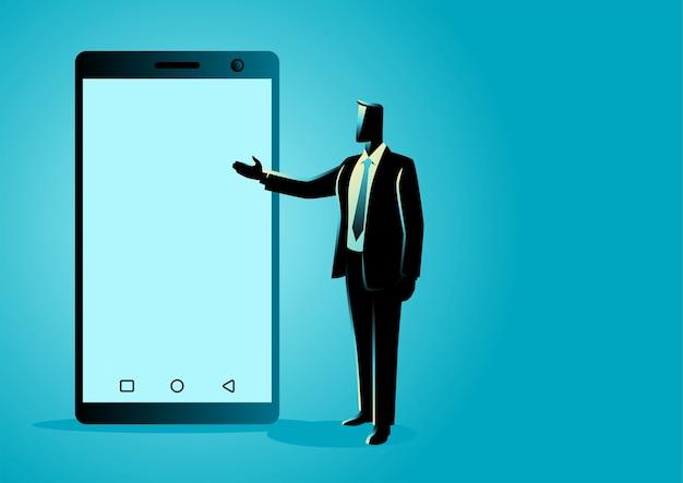 Ilustração do empresário apresentando uma tela em branco do telefone inteligente