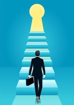 Ilustração do empresário caminhando em direção à escada pelo buraco da fechadura