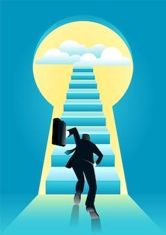 Ilustração do empresário correndo em direção à escada pelo buraco da fechadura