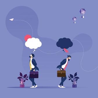 Ilustração do empresário em diferentes emoções