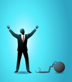 Ilustração do empresário levantar ambas as mãos após se soltar da bola de ferro que estava acorrentada em seus pés
