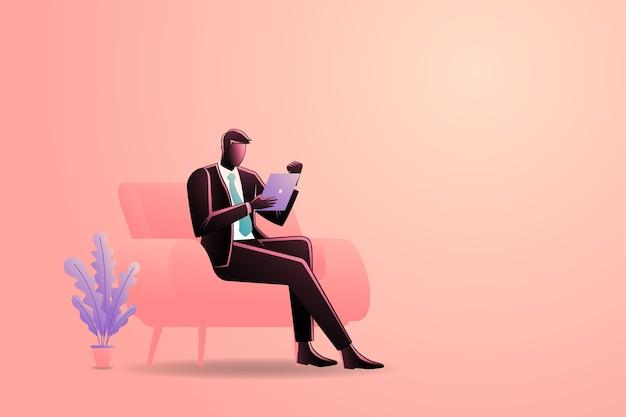 Ilustração do empresário sentado no sofá enquanto segura o tablet