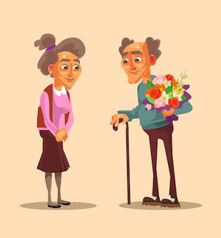 Ilustração do encontro de idosos felizes e sorridentes