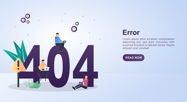 Ilustração do erro com o código 404 com o código 404, que está sendo reparado usando um laptop.