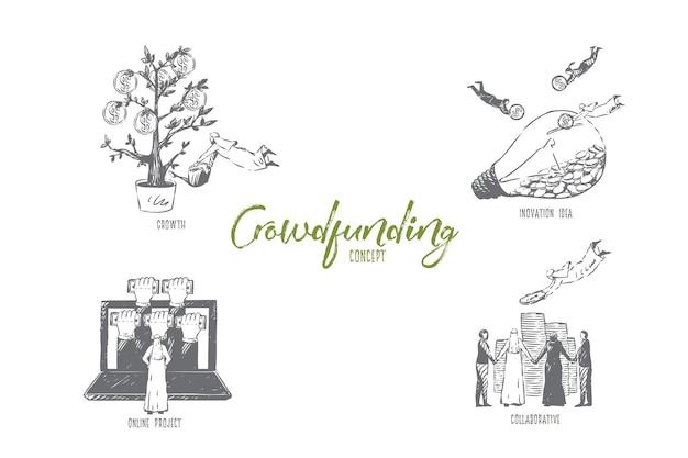 Ilustração do esboço do conceito colaborativo de crowdfunding