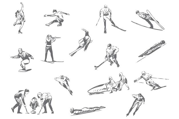Ilustração do esboço do conceito de atividades de esportes de inverno