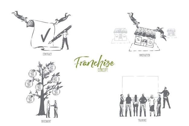 Ilustração do esboço do conceito de treinamento de franquia