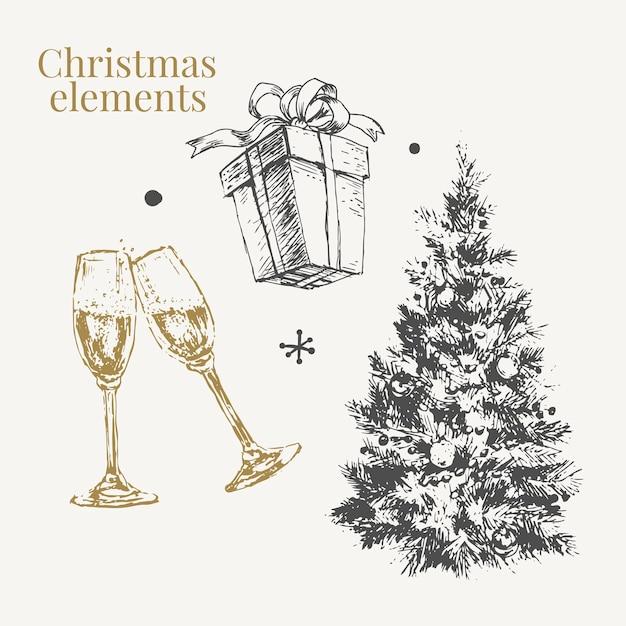 Ilustração do esboço do conjunto de natal e ano novo