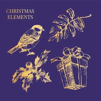 Ilustração do esboço do conjunto dourado de natal e ano novo