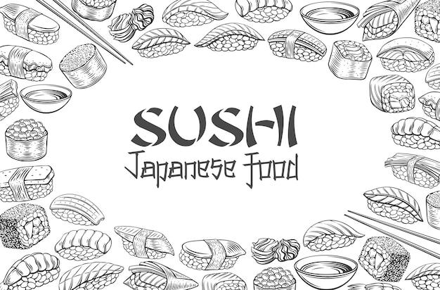 Ilustração do esboço do layout do menu de comida japonesa