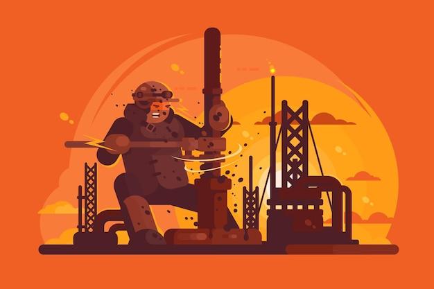 Ilustração do escavador de óleo no trabalho