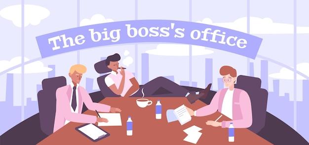 Ilustração do escritório do chefão