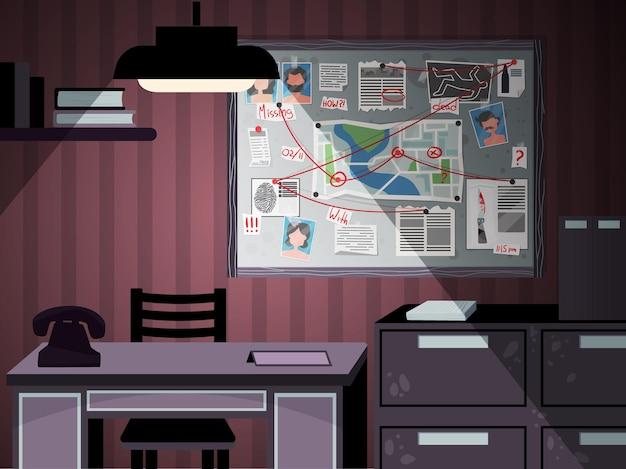 Ilustração do escritório do conselho de detetives