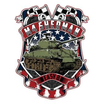 Ilustração do escudo do brasão do tanque americano m4 sherman