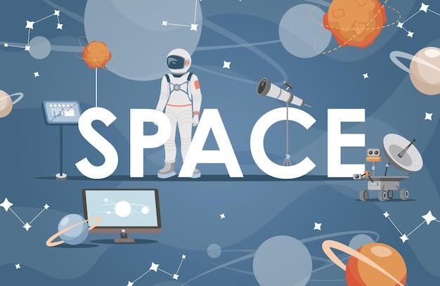 Ilustração do espaço com astronauta e planetas