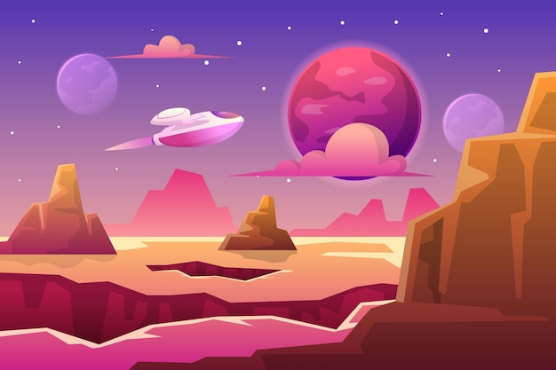 Ilustração do espaço com ficção científica