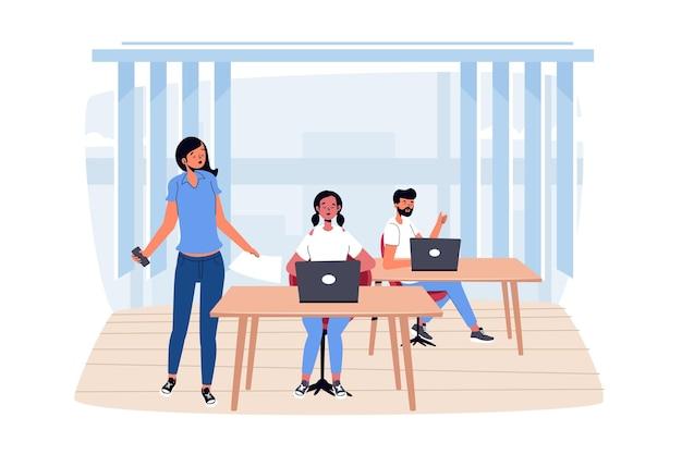 Ilustração do espaço de coworking desenhada à mão plana