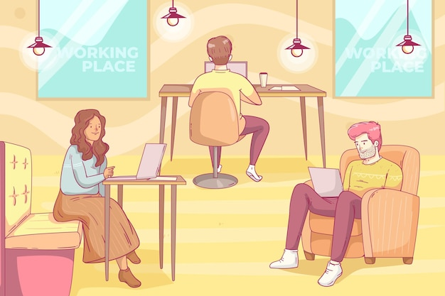 Ilustração do espaço de coworking desenhada à mão