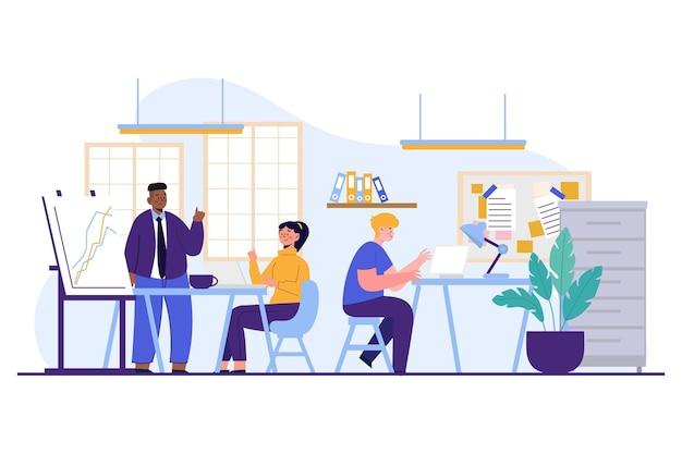Ilustração do espaço de coworking dos desenhos animados