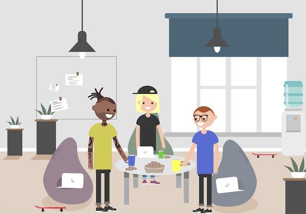 Ilustração do espaço de coworking. local de trabalho, escritório. escritório moderno. millennials no trabalho.