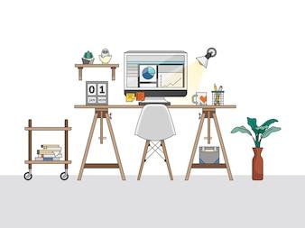 Ilustração do espaço de trabalho de escritório em casa