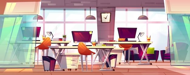 Ilustração do espaço de trabalho do escritório ou interior aberto do local de trabalho do negócio coworking.