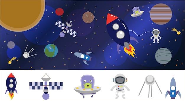 Ilustração do espaço dos desenhos animados com um foguete astronauta, planetas e alienígenas.