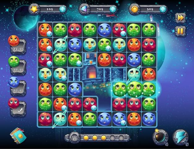 Ilustração do espaço fabuloso com a imagem da tela do jogo