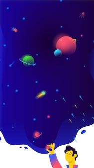 Ilustração do espaço livre, planetas e satélites.