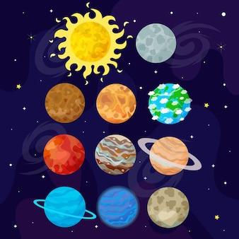 Ilustração do espaço, universo. planetas de desenho animado. ilustração de crianças.