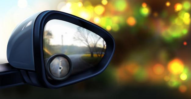 Ilustração do espelho retrovisor com pequeno vidro redondo para zona de ponto cego