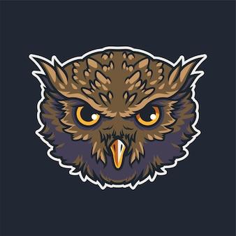 Ilustração do esporte do mascote da cabeça da coruja