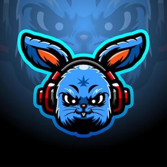 Ilustração do esporte do mascote da cabeça do coelho