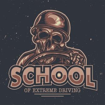 Ilustração do esqueleto atrás do volante