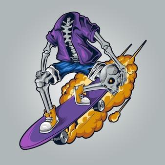 Ilustração do esqueleto do skatista