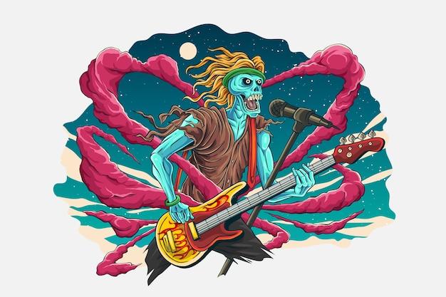 Ilustração do esqueleto rockstar