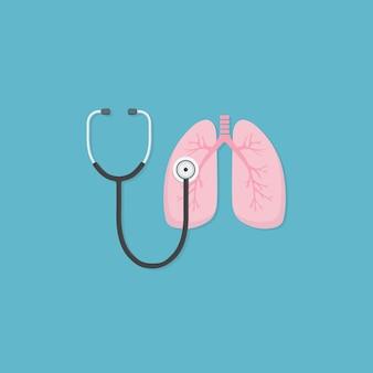 Ilustração do estetoscópio e pulmão