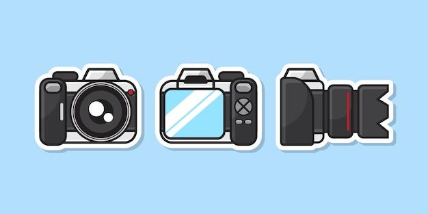 Ilustração do estilo da etiqueta da câmara digital com ângulos diferentes.