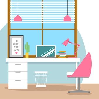 Ilustração do estilo de design plano do moderno espaço de trabalho de escritório em casa. trabalhando no computador.