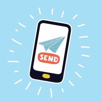 Ilustração do estilo de transferência de dinheiro móvel