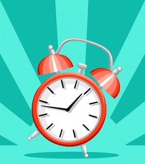 Ilustração do estilo do tempo de despertar do despertador vermelho na página do site com fundo turquesa e no aplicativo móvel