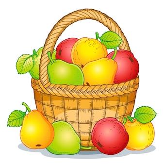 Ilustração do estilo dos desenhos animados. colheita de maçãs maduras e peras em uma cesta. dia de ação de graças.