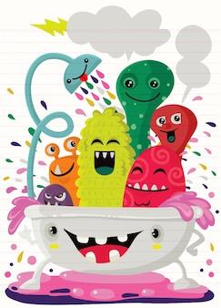 Ilustração do estilo dos desenhos animados de monstros engraçados tomando um banho cheio de espuma de sabão