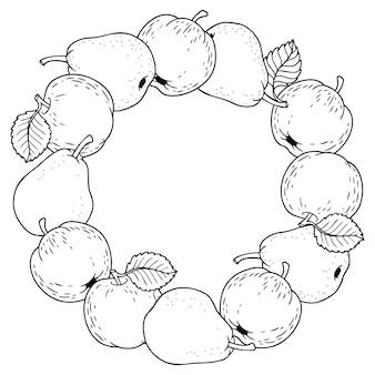 Ilustração do estilo dos desenhos animados em vetor. quadro redondo de maçãs maduras e peras. dia de ação de graças.